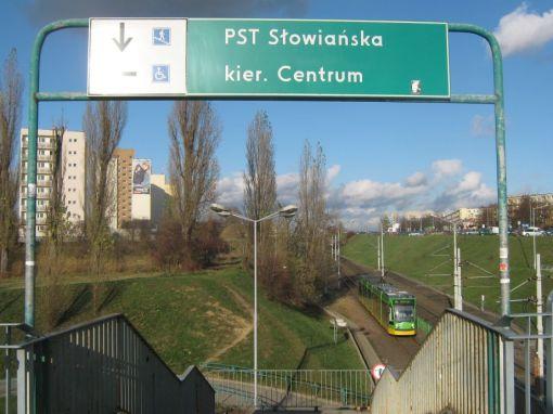 Przystanek Słowiańska na trasie Poznańskiego Szybkiego Tramwaju (PST)