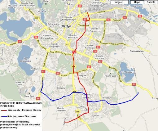 Pierwsze plany sieci tramwajowej (2006 rok)