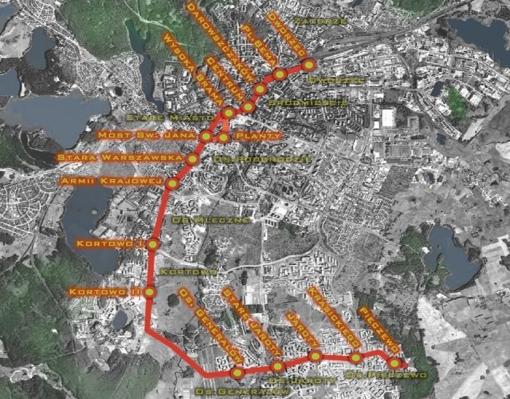 Projekt trasy tramwajowej autorstwa Forum Rozwoju Olsztyna (2009)