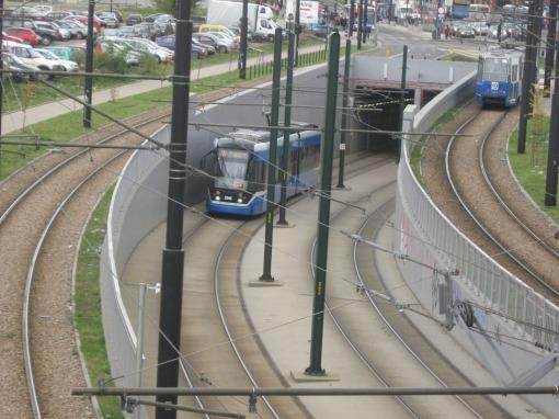 Wylot tunelu tramwajowego w Krakowie