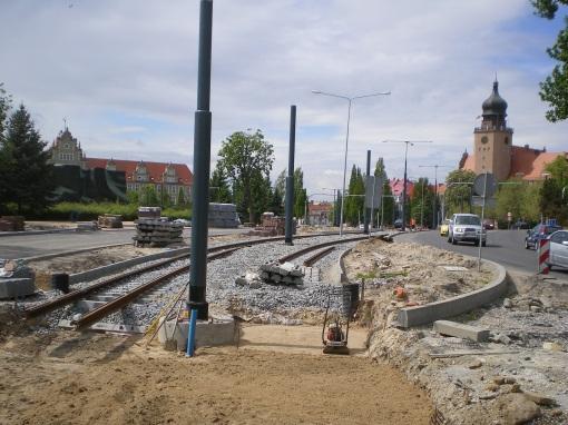 Budowa torowiska w ulicy Grota-Roweckiego w Elblągu