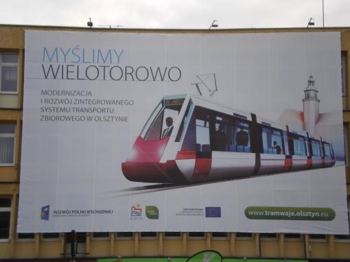 Miejska reklama tramwaju na Warsie i Sawie