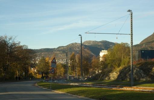 Torowisko w dzielnicy Slettebakken w Bergen