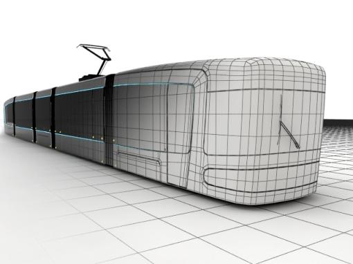 Modelowanie tramwaju Tryton w 3D