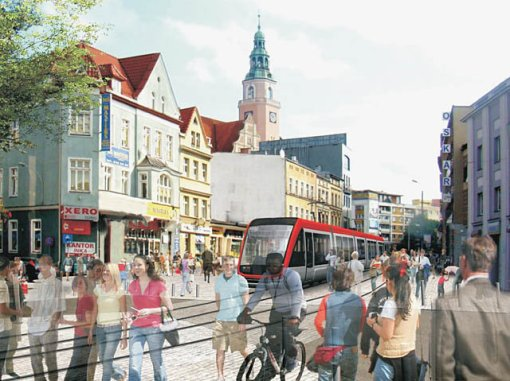 Wizualizacja tramwaju na ulicy 11 Listopada