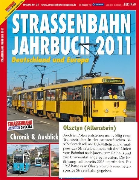 """Olsztyn w """"Strassenbahn Jahrbuch 2011"""""""