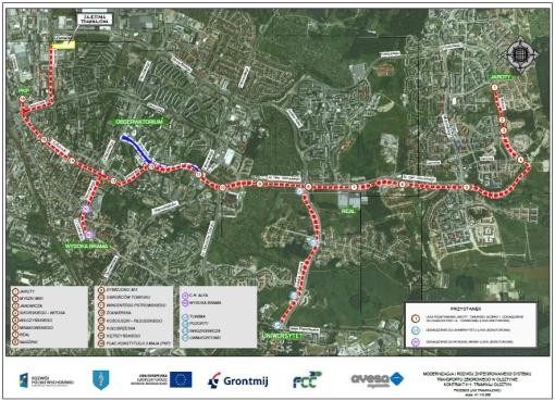 Lokalizacje przystanków zaproponowane przez miasto i inżyniera kontraktu