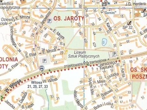 Plan Olsztyna z naniesioną linią tramwajową - ulica Witosa