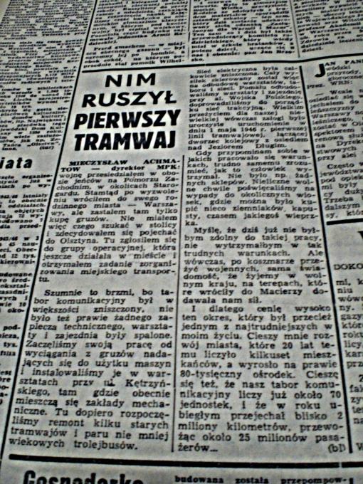 """""""Nim ruszył pierwszy tramwaj"""" (""""Głos Olsztyński"""", piątek 22 stycznia 1965 r., str. 5)"""