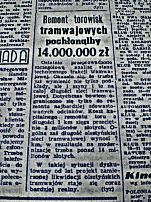 """""""Remont torowisk pochłonąłby 14 000 000 zł"""" (""""Głos Olsztyński"""", piątek 5 lutego 1965 r., str. 5)"""