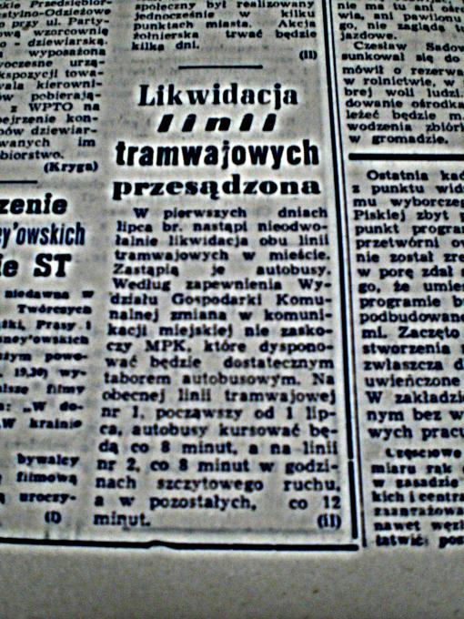 """""""Likwidacja linii tramwajowych przesądzona"""" (""""Głos Olsztyński"""", wtorek 11 maja 1965 r., str. 6)"""