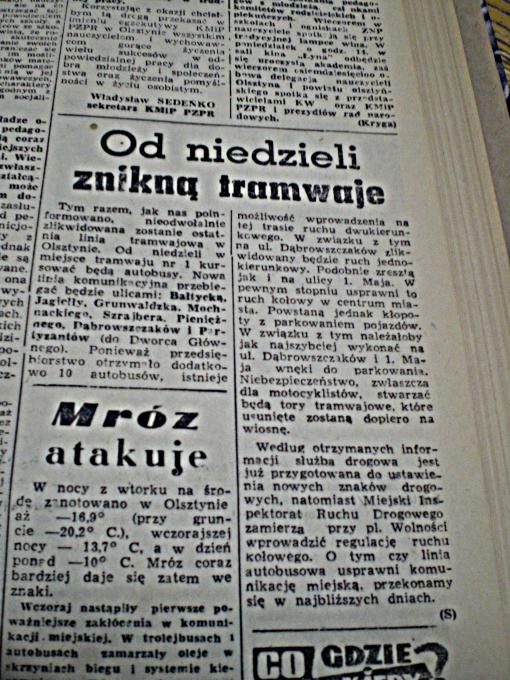 """""""Od niedzieli znikną tramwaje"""" (""""Głos Olsztyński"""", piątek 19 listopada 1965 r., str. 5)"""
