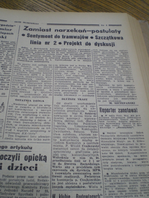 """""""Zamiast narzekań - postulaty"""" (""""Głos Olsztyński"""", czwartek 25 listopada 1965 r., str. 5)"""