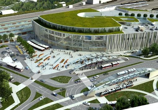 Wizualizacja węzła komunikacyjnego Dworzec Główny w Olsztynie