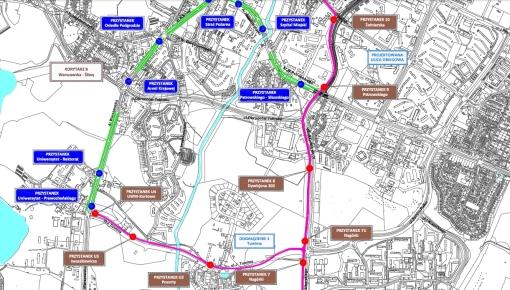 Lokalizacje przystanków tramwajowych (odcinek środkowy)