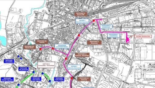 Lokalizacje przystanków tramwajowych (odcinek północny)