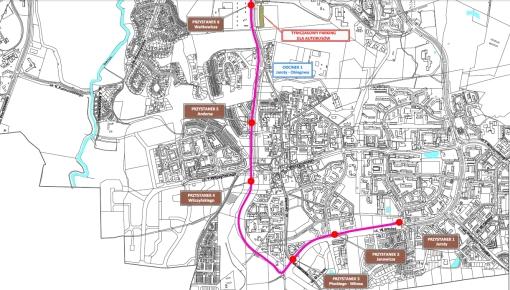 Lokalizacje przystanków tramwajowych (odcinek południowy)