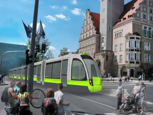 Propozycja malowania tramwajów w barwy Olsztyna (szary, limonkowy i grafitowy)