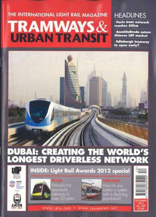 """Okładka """"Tramways & Urban Transit"""" z grudnia 2012"""