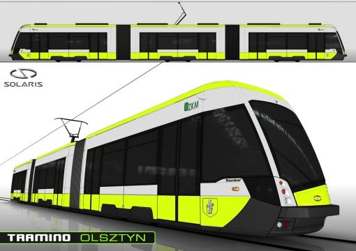 Solaris Tramino Olsztyn w żółtym malowaniu - wizualizacja z maja 2013