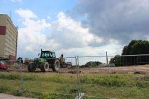 Budowa linii tramwajowej i ulicy Obiegowej (24 czerwca 2013)