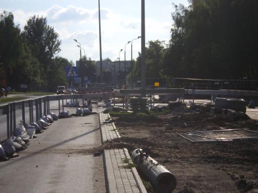 Budowa linii tramwajowej przy ulicy Towarowej (8 czerwca 2013)
