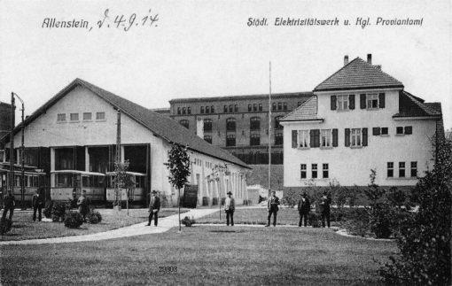 Zajezdnia tramwajowa przy alei Wojska Polskiego na pocztówce z lat 10. XX wieku