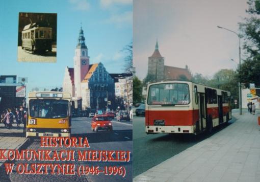 """Okładka książki """"Historia komunikacji miejskiej w Olsztynie 1949-1996"""""""