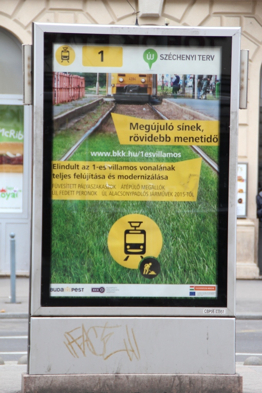 Reklama przebudowy linii tramwajowej 1 w Budapeszcie
