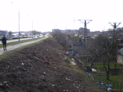 Aleja Sikorskiego po wycince drzew i krzewów pod budowę linii tramwajowej (27 marca 2014)