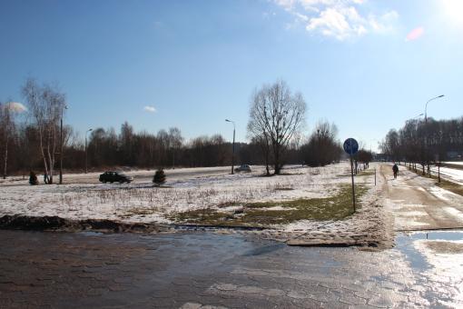 Teren przyszłej zajezdni autobusowej przy al. Sikorskiego (8 lutego 2014)