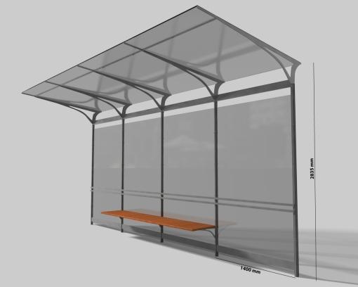 Proponowany wygląd wiaty na przystankach tramwajowych