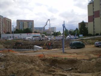 Budowa ulicy Obiegowej przy skrzyżowaniu z Żołnierską (7 sierpnia 2014)