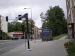 Słup do zawieszenia tablicy informacji pasażerskiej na przystanku Grunwaldzka (7 sierpnia 2014)
