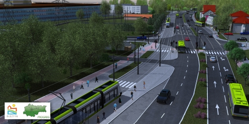 Wizualizacja linii tramwajowej przy skrzyżowaniu al. Sikorskiego i Dywizjonu 303