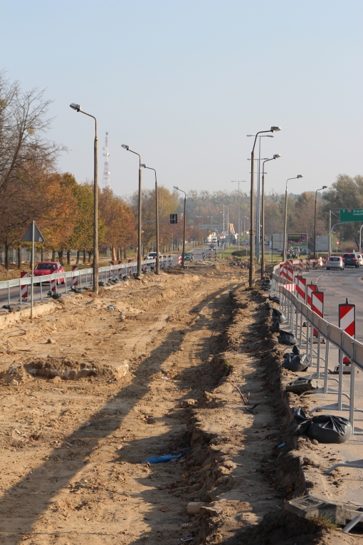 Budowa linii tramwajowej na ulicy Towarowej (26 października 2014)