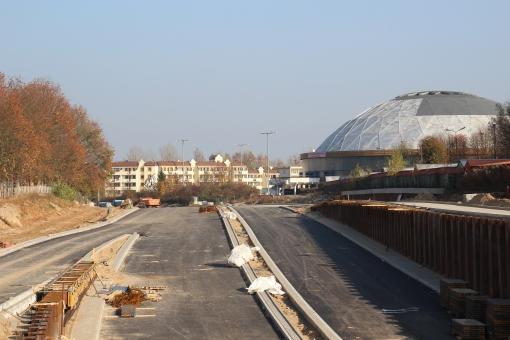Budowa ulicy Obiegowej (26 października 2014)