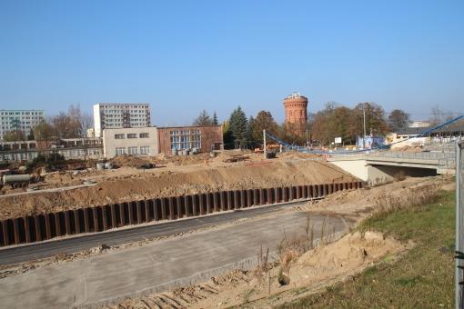 Budowa linii tramwajowej i ulicy Obiegowej (26 października 2014)