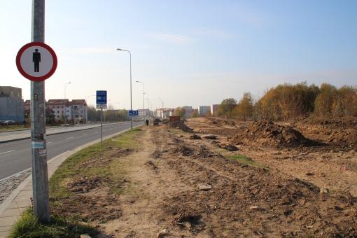 Budowa linii tramwajowej przy ulicy Witosa (26 października 2014)