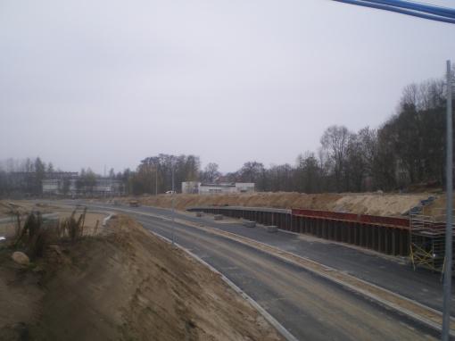 Budowa ulicy Obiegowej i biegnącej przy niej linii tramwajowej (16 listopada 2014) © OlsztyńskieTramwaje.pl