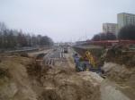 Budowa ulicy Obiegowej - widok z wiaduktu ulicy Żołnierskiej (16 listopada 2014)