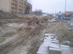 Budowa linii tramwajowej przy ulicy Witosa (30 listopada 2014)