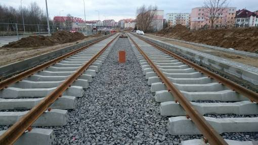 Budowa linii tramwajowej przy ulicy Witosa (13 grudnia 2014)