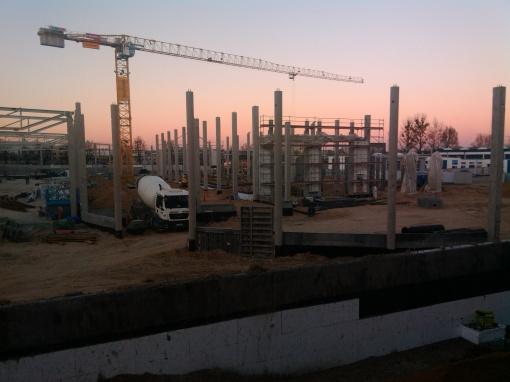 Budowa zajezdni tramwajowej przy ulicy Towarowej i Kołobrzeskiej (2 grudnia 2014)