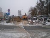Budowa linii tramwajowej na ulicy Dworcowej (3 grudnia 2014)
