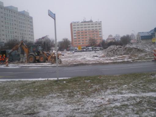 Budowa linii tramwajowej na placu Konstytucji 3 Maja (3 grudnia 2014)