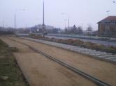 Budowa linii tramwajowej przy ulicy Tuwima (7 grudnia 2014)