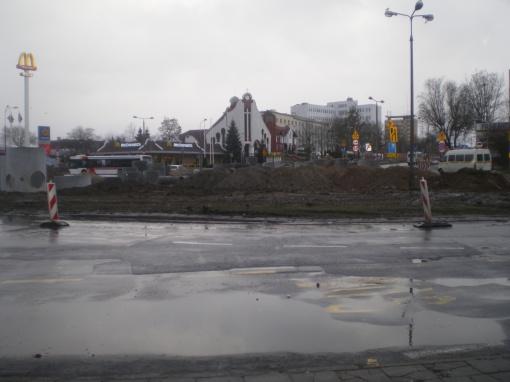 Budowa linii tramwajowej na placu Konstytucji 3 Maja (20 grudnia 2014)