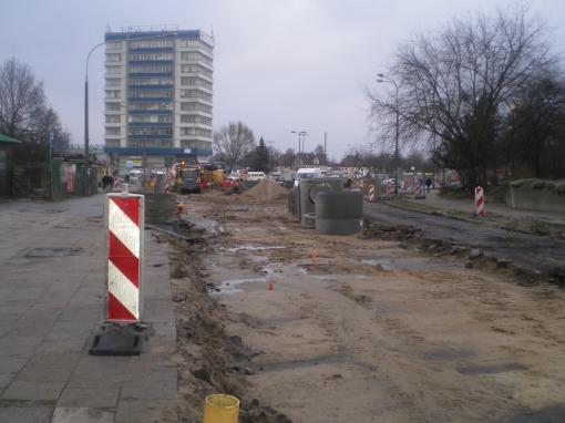 Budowa linii tramwajowej na ulicy Kościuszki (20 grudnia 2014)