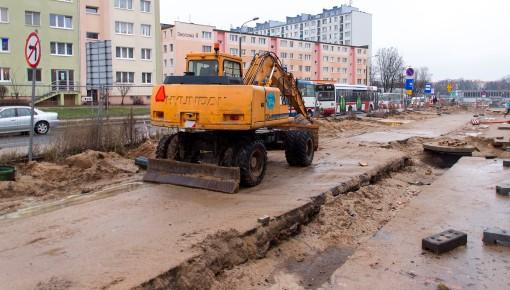 Budowa linii tramwajowej przy ulicy Dworcowej (2 stycznia 2015)